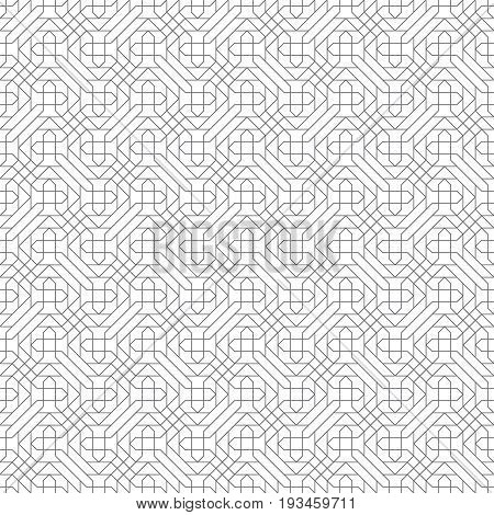 Vector seamless pattern. Modern texture with thin lines which form regularly repeating tiled linear grid. Geometric puzzle mosaic. Сontinuous ornament. Minimal trendy design