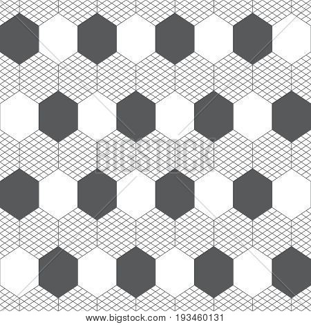 Vector seamless pattern. Infinitely repeating modern geometrical texture consisting of striped hexagons and hexagonal shapes. Trendy thin line design