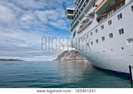 Beside the cruise ship in Magdalenafjord in Svalbard islands Norway