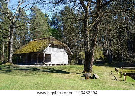 Old wooden house at Ethnographic open air village