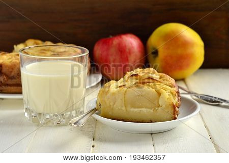 Semolina pie with apples, Serbian koh, selective focus
