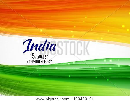 Indian Independence Day Background with Waves. Vector Illustration EPS10