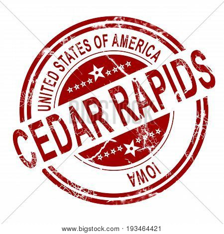 Cedar Rapids Stamp With White Background