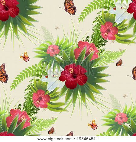 Red Hibiscus flower, green leaves and butterflies. Seamless background with nature vegetation. Vector realistic illustration