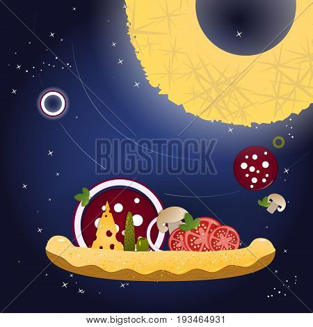 Pizza and ingredients on a dark blue background with stars. Vector illustration