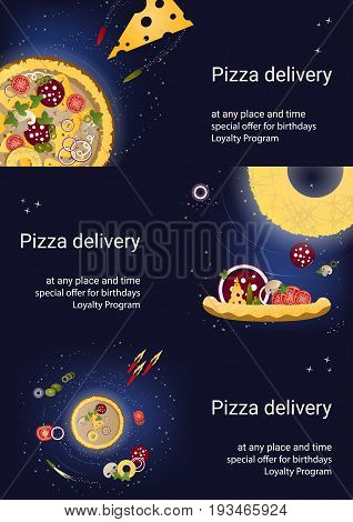 Set of three flyers with pizza and ingredients on a dark blue background. Vector illustration