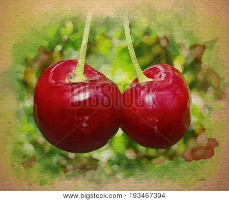 Digital watercolor pattern of red Cherries with colorful background