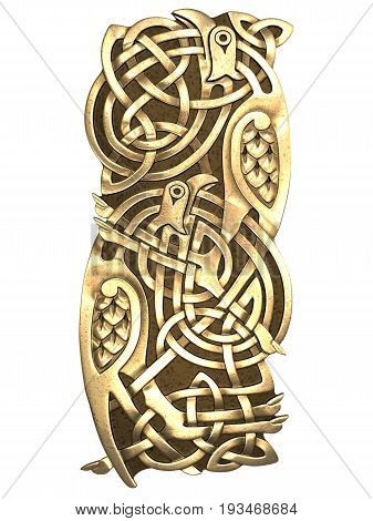 3D illustration Celtic ornament. Isolated white background.