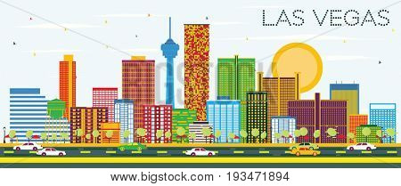Las Vegas Skyline with Color Buildings and Blue Sky. Business Travel and Tourism Concept with Modern Buildings. Image for Presentation Banner Placard and Web Site.