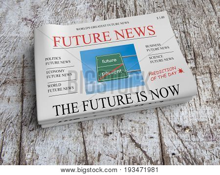 Future News Newspaper Concept: The Future Is Now 3d illustration