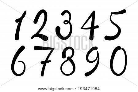 Arabic numerals set 1-10. Black figures. Version 2