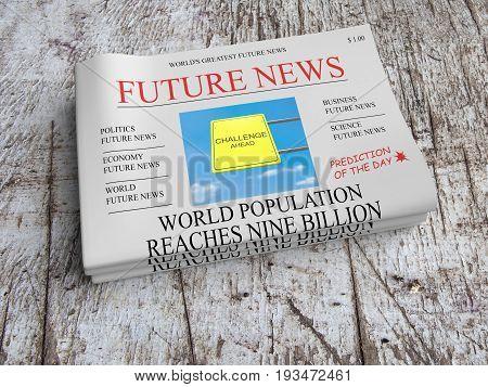 Future News Newspaper Concept: World Population Reaches Nine Billion 3d illustration