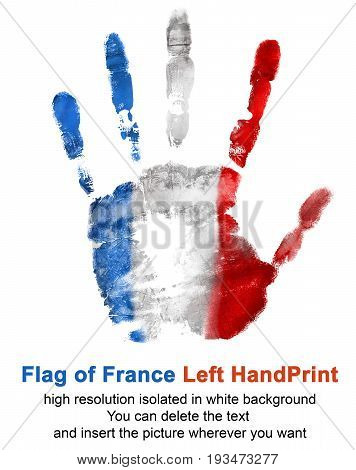 Left hand imprint in France flag color isolated on white background