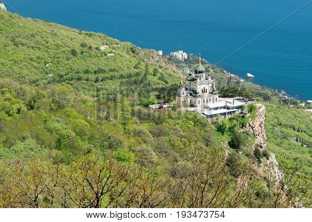 The Church of Christ's Resurrection on rock in Crimea over the settlement of Foros View from Baidarskie Gates