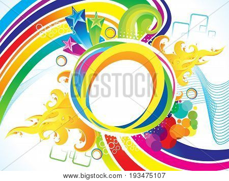abstract artistic rainbow flame explode vector illustration