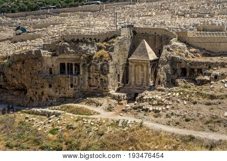 The Bnei Hazir Tomb and the Tomb of Zechariah in Kidron Valley or King's Valley near the walls of the Old City of Jerusalem Israel