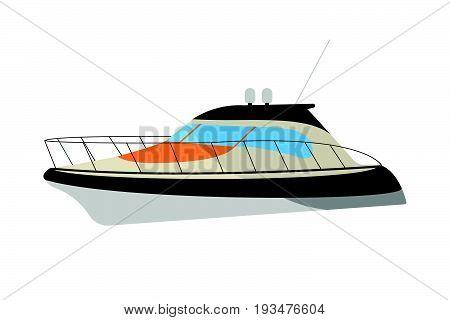 Speedboat Flat Icon And Sign. Cartoon Vector Illustration
