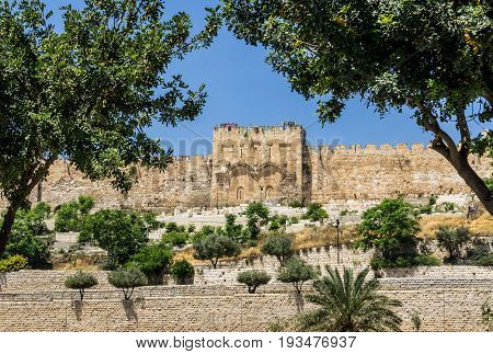 The Golden Gate or Gate of Mercy on the east-side of the Temple Mount of the Old City of Jerusalem in Israel. View from the Garden of Gethsemane.