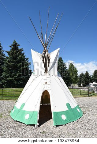 CODY, WYOMING - JUNE 24, 2017: Tepee at Buffalo Bill Center of the West. A complex of five museums and a research library featuring art and artifacts of the American West.