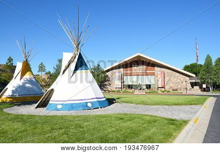 CODY, WYOMING - JUNE 24, 2017: Tepees at Buffalo Bill Center of the West. A complex of five museums and a research library featuring natural history, art and artifacts of the American West.