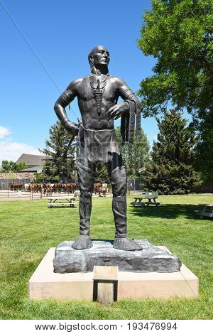 CODY, WYOMING - JUNE 24, 2017: Little Turtle statue at Buffalo Bill Center of the West. A complex of 5 museums and a research library featuring natural history, art and artifacts of the American West.