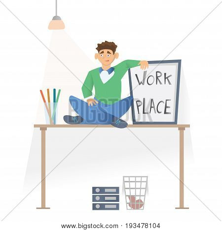 Working place in the office. A young man in casual clothes sittting on the desktop. Vector illustration, isolated on white background.