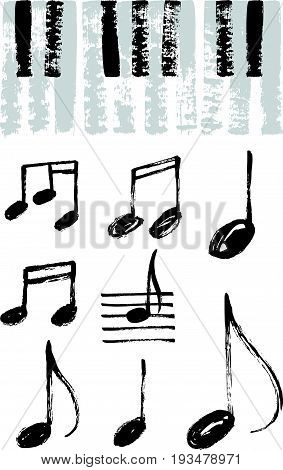 Music Notes And Piano Keyboard