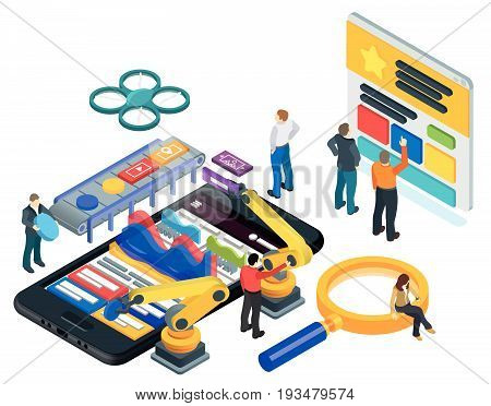 Mobile App Development. Flat 3d isometric mobile UI. Web design concept. Program code on a screen. People at work in different poses. Vector illustration