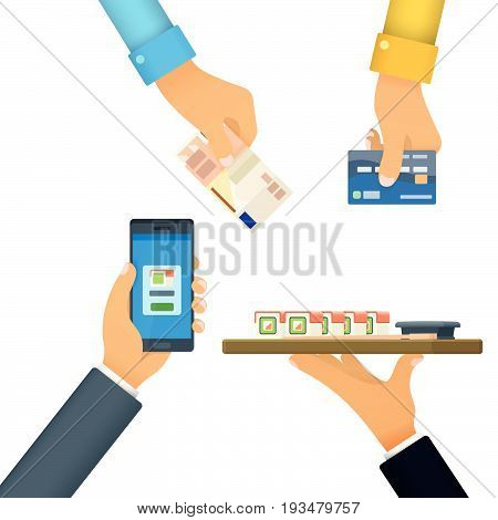 Cashless and cash payment. The hand holds a credit card. Payment by credit card, payment online, cash. Hand with phone. Template for advertising and web banner in a flat style. Vector illustration