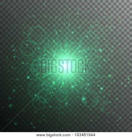 Bright star with a green light effect on a translucent background