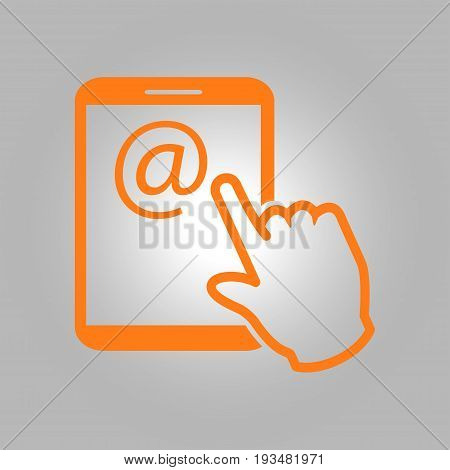 Touch screen tablet PC sign icon. Hand pointer symbol.  Mail on Screen Tablet PC.