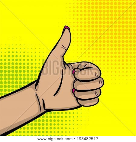 Pop art comic text cartoon cool woman knuckle hand show finger thumb up. Human girl wow ok, good poster halftone dot background. Gesture advertisement arm message. Bright color illustration.