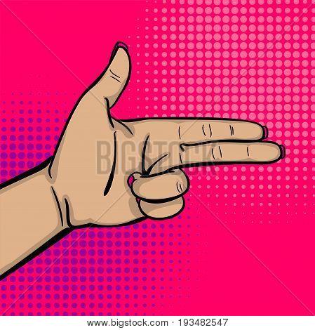 Pop art comic text cartoon cool woman knuckle hand show bang gun finger. Human girl wow ok, good poster halftone dot background. Gesture advertisement arm message. Bright color illustration.
