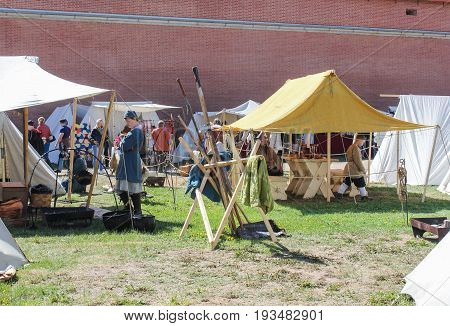 St. Petersburg Russia - 28 May, Dwellings and objects of the ancient Vikings, 28 May, 2017. Festival of the Legends of the Norwegian Vikings in St. Petersburg.