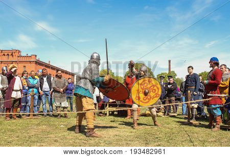 St. Petersburg Russia - 28 May, Battle of the ancient Vikings, 28 May, 2017. Knight tournament at the festival of ancient Vikings in St. Petersburg.