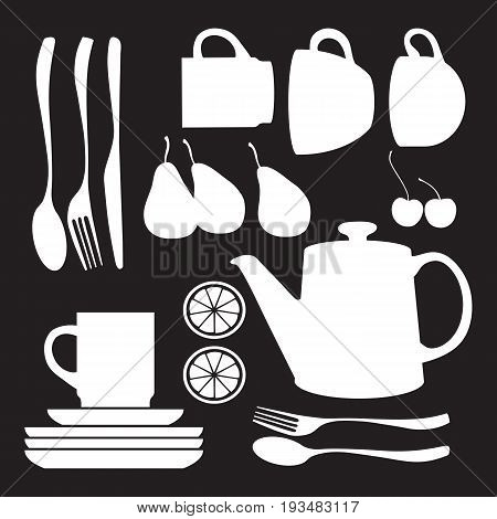Vector collection of tableware. Teapot and cups.