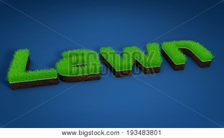 3D illustration turf athletic fields landscaping and advertising seeding, 3D image