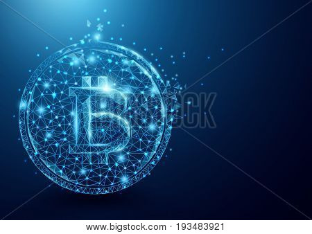 Wireframe bitcoin mesh from a starry on blue background. Business and technology concept