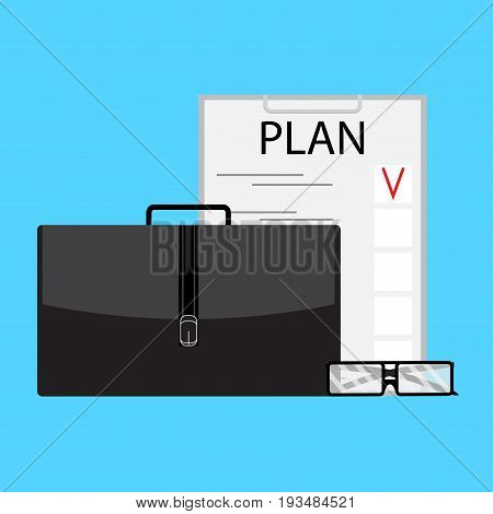 Writing business plan. Business strategy model vector strategic planning illustration