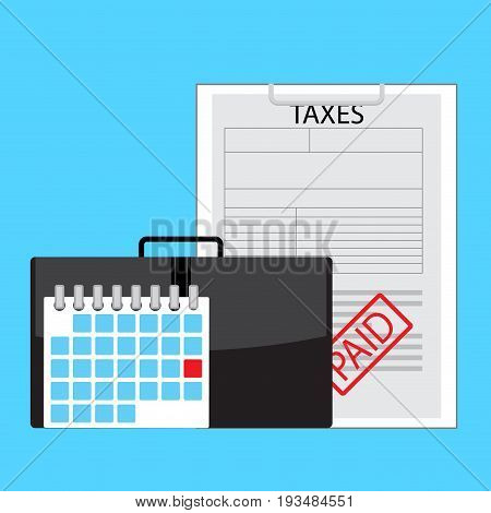 Day of payment taxes. Tax and payment. Tax paid and taxation concept individual income tax return vector illustration