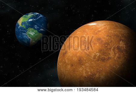 Between Earth and Venus ,Elements of this image furnished by NASA