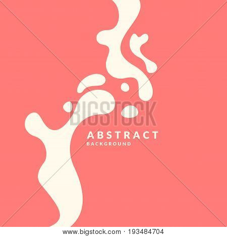 Bright poster with white splatter on red background. Vector illustration minimal flat style