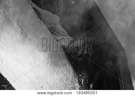 Ghost in haunted house,Scary background for book cover
