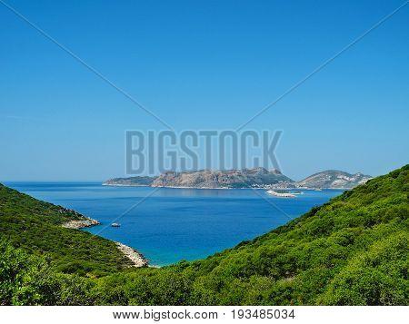 Beautiful Summer View Of The Mediterranean Seashore. The Lycian Way Trekking Near Kas, Turkey.