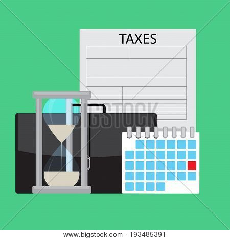 Date day calendar of payment of taxes. Payday and paycheck pay tax vector illustration