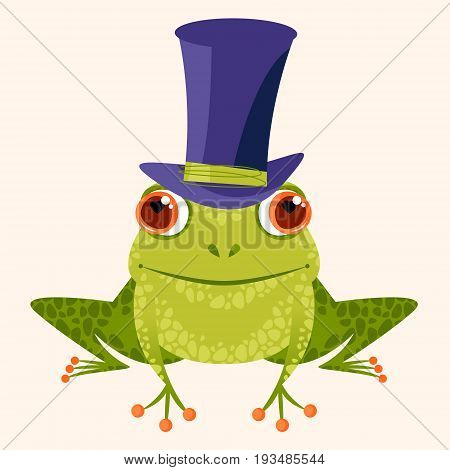 Smiling frog in a top hat. Vector illustration.