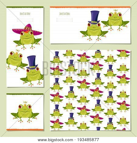 Set of universal cards with Frogs in various hats. Birthday anniversary children's party congratulations. Template. Vector illustration