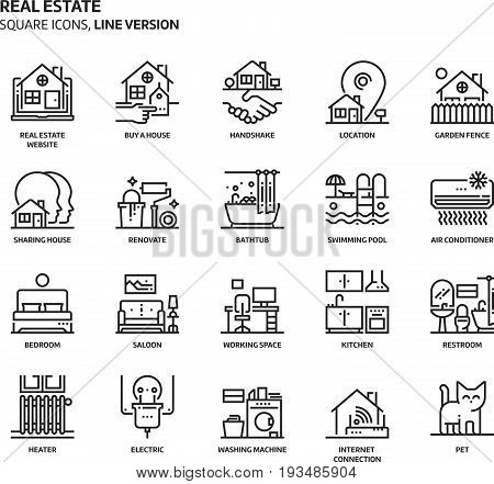 Real Estate, Square Icon Set