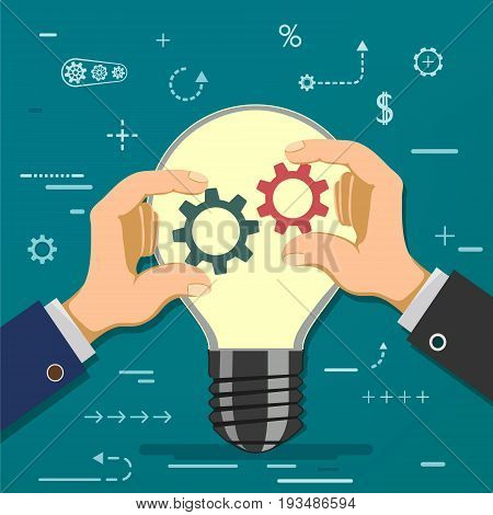 Two businessmen hold gears in hands on the background of a light bulb. Symbol of partnership and cooperation. Financial investments in business and start-up. Stock vector cartoon illustration.