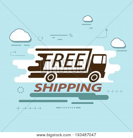 Icon truck of cargo delivery. Free and fast freight transportation around the world. Simple infographics of the business shipping industry. Stock vector illustration.